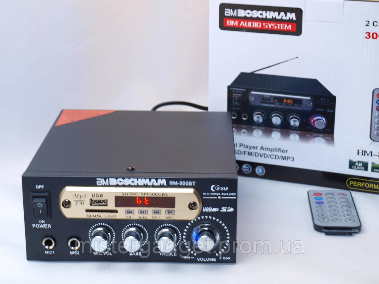 Усилитель звука BM-800bt Два входа для микрофона и блютуз