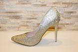 Туфли женские золотистые на каблуке Т1401, фото 2