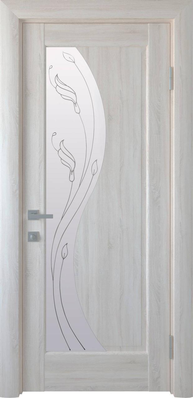 Дверне полотно ПВХ Єскада зол. вільха 80 п/о R+2 (вітрина)