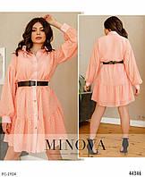 Ошатне шифонова сукня-сорочка з розкльошеною спідницею короткий стильне з поясом арт. 8634
