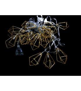 Светодиодная гирлянда Кристалл,10 металлических фигурок ,золото,с переходником
