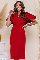 Шикарне приталене вечірній однотонне плаття за коліно міді з рукавом воланом арт. 204