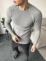 Свитер мужской стильный серого цвета. Мужская кофта классическая лёгкая свитер серый.