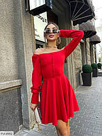Красиве короткий міні сукня з спідницею кльош з приспущеними плечима р: 42-44, 44-46 арт. 301