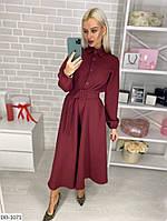 Стримане стильне однотонне сукня з спідницею кльош за коліно з поясом довгий рукав арт. 79