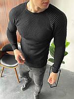 Свитер мужской стильный черного цвета. Мужская кофта классическая лёгкая свитер черный.