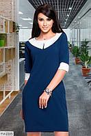 Стильное деловое приталенное платье до колена с белым воротником с карманами рукав до локтя арт. 1003