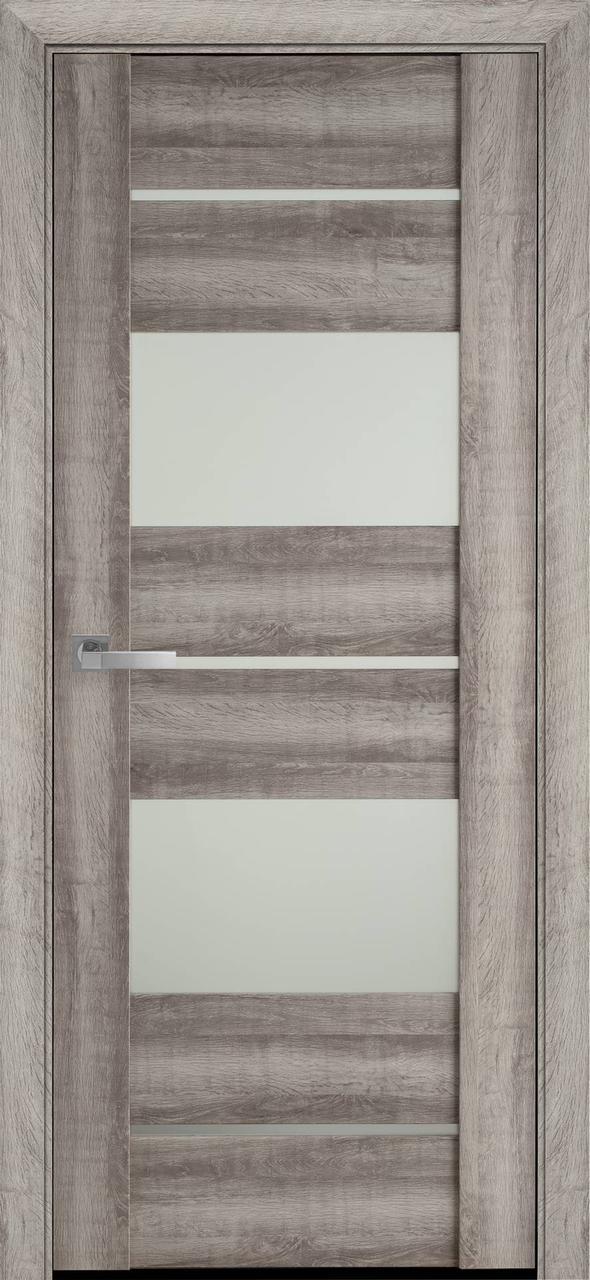 Дверне полотно ПВХ Аскона бук баварский 80 п/о BLK (вітрина)
