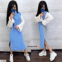 Теплое вязанное свободное молодежное трехцветное платье с объемным рукавом миди Размер: 42-46 арт. Tricveta