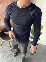 Свитер мужской стильный темно-синего цвета. Мужская кофта классическая лёгкая свитер темно-синий.