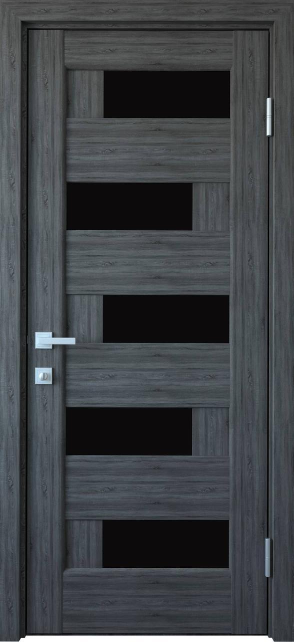 Дверне полотно ПВХ Піана 80 grey NEW + скло BLK (вітрина)
