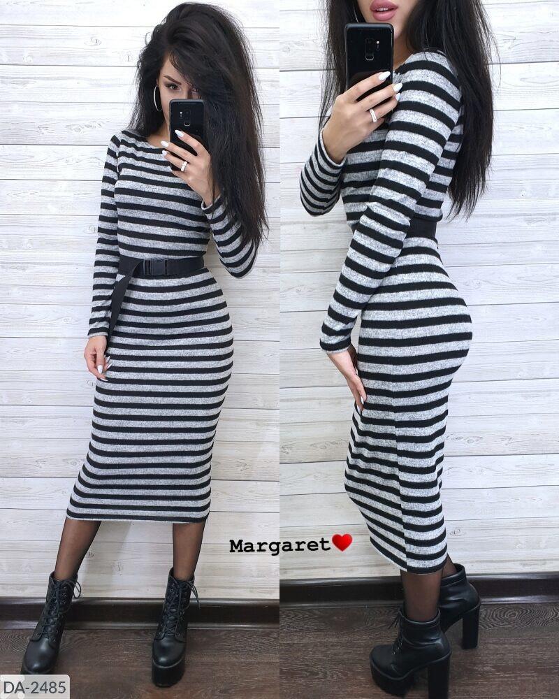Теплое повседневное облегающее ангоровое платье в полоску за колено с ремешком длины миди Размер: 42-46