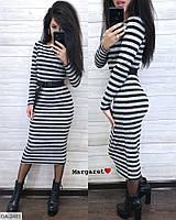 Теплое повседневное облегающее ангоровое платье в полоску за колено с ремешком длины миди Размер: 42-46, фото 1