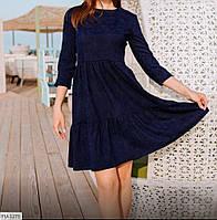 Комфортне вельветове сукня з спідницею кльош із завищеною талією з рукавом 3/4 Розмір: 42, 44, 46, 48
