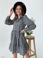 Модне коттоновое сукня-сорочка короткий в клітку з воланами по низу спідниці вільного покрою арт. 701
