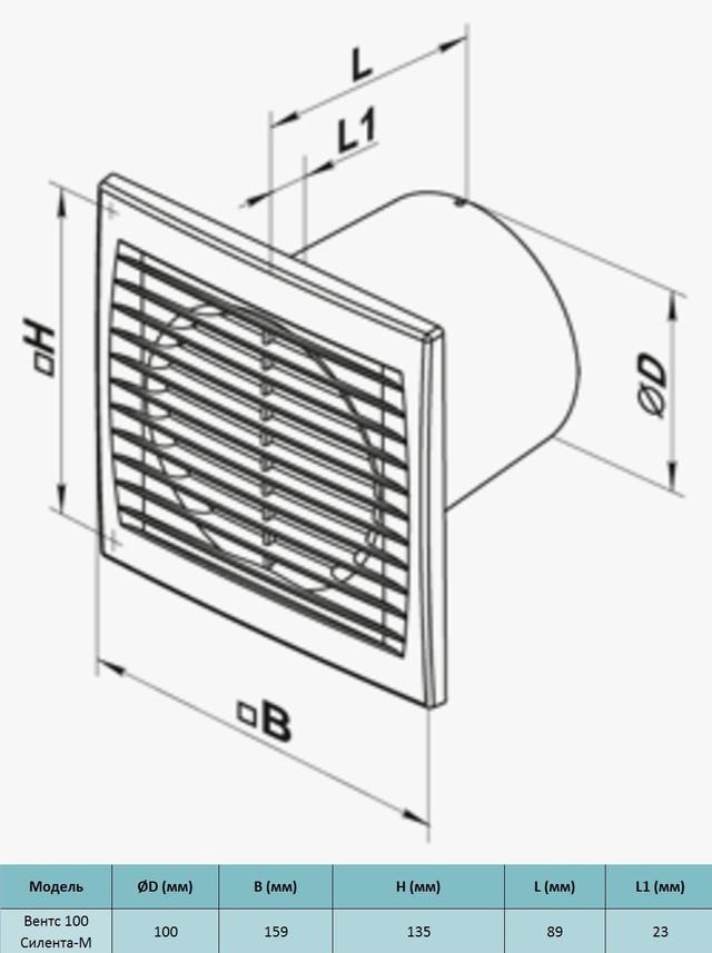 Габариты бытового вентилятора Вентс 100 Силента-м к купить в украине