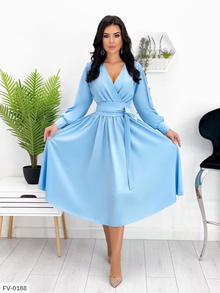 Шикарне ошатне розкльошені сукня з спідницею кльош за коліно під пояс вгору на запах арт. 664