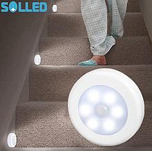 Светодиодный светильник 6LED ночник подсветка с датчиком движения на батарейках на магните
