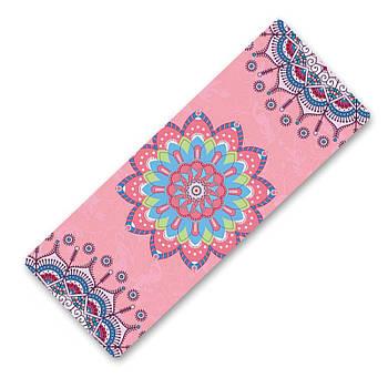 Коврик для занятий фитнесом и йогой Dingming YZS-16 TPE Цветок Pink (4825-15358a)