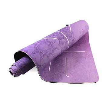Коврик для занятий фитнесом и йогой Dingming YZS-16 TPE 1830*660*6mm Вспомогательные линии Purple