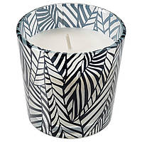 IKEA MEDKÄMPE МЕДКЕМПЕ Свеча ароматическая в стакане Цвет ревеня с рисунком черный (504.967.67)