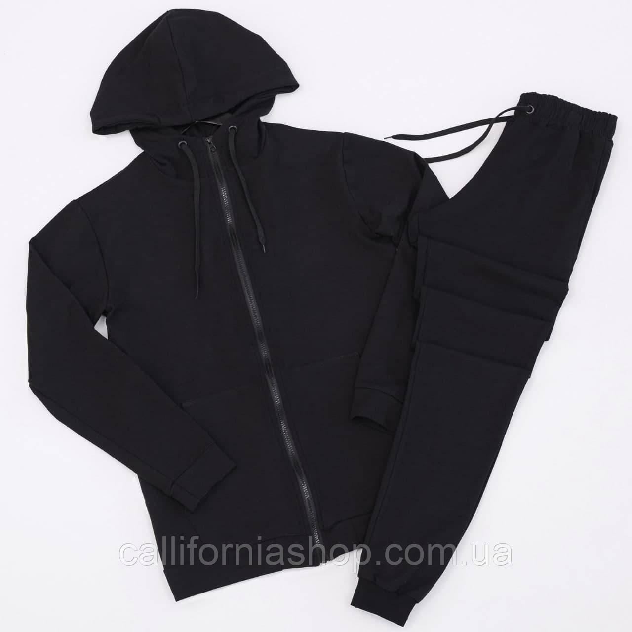 Спортивний костюм чоловічий чорний з кофтою на блискавці