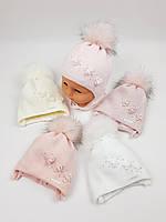 Детские польские зимние вязаные шапки на флисе с завязками и помпоном оптом для девочек, р.36-38, Grans, фото 1
