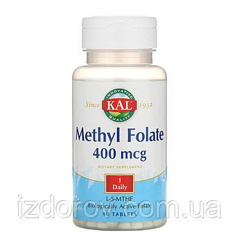 KAL, Метил фолат, 400 мкг, Methyl Folate, 90 таблеток