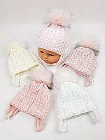 Дитячі польські зимові в'язані шапки на флісі з завязками і помпоном оптом для дівчат, р.38-40, Grans, фото 1