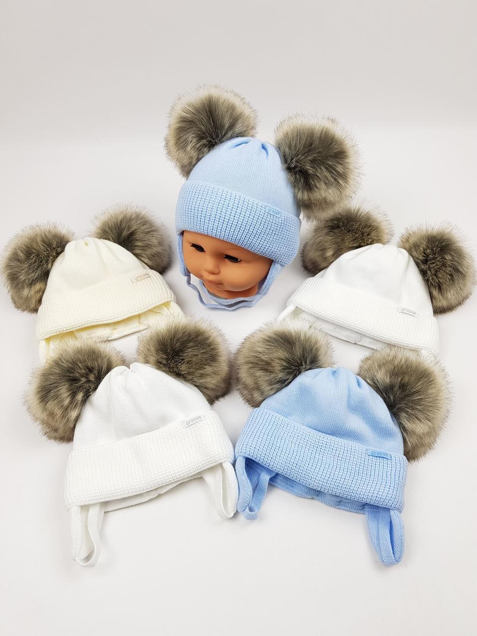 Детские польские зимние вязаные шапки на флисе с завязками и помпоном оптом для мальчиков, р.38-40, Grans
