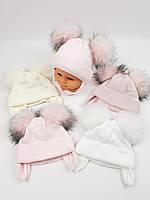 Детские польские зимние вязаные шапки на флисе с завязками и помпоном оптом для девочек, р.38-40, Grans, фото 1