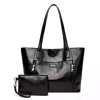 Женская сумкая большая черная с кошельком
