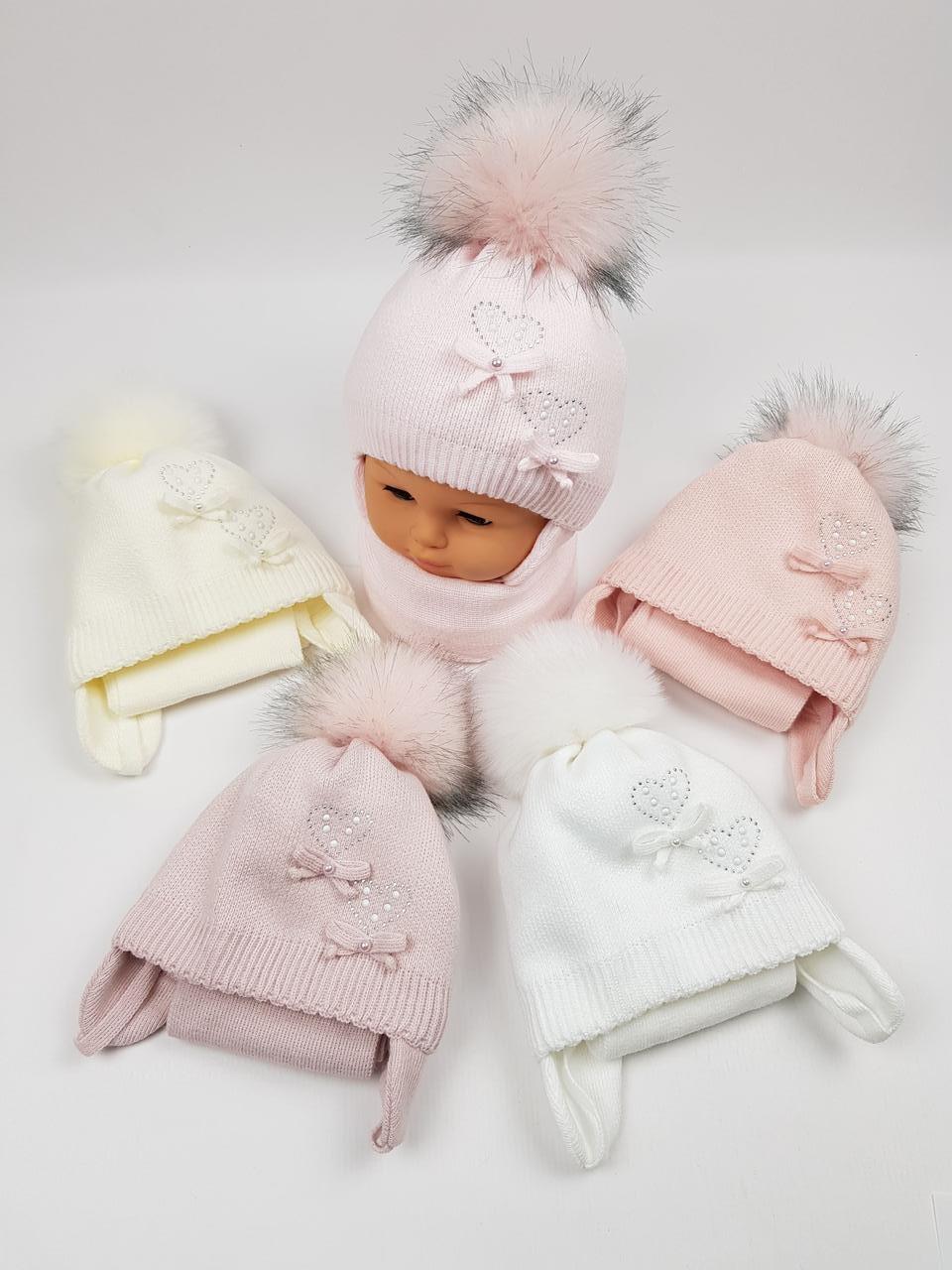Детские польские зимние вязаные шапки на флисе с завязками и помпоном оптом для девочек, р.40-42, Grans