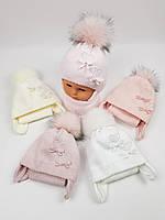 Детские польские зимние вязаные шапки на флисе с завязками и помпоном оптом для девочек, р.40-42, Grans, фото 1