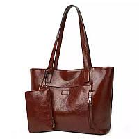 Женская сумка большая коричневая с кошельком