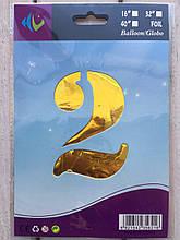 """Фольговані кульки цифри """"2"""" 32"""" (80 см) Золото Balloons"""