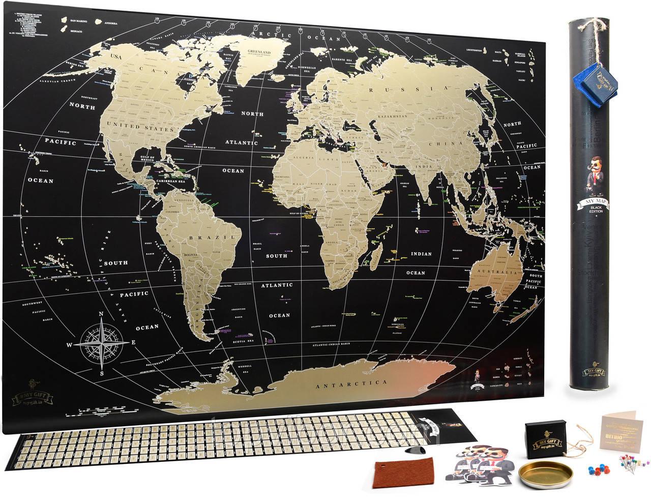 Скретч карта мира My Map Black Edition gold (на англ. языке), карта для отметок путешествий (VT)