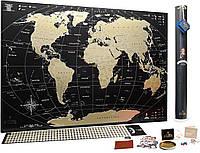 Скретч карта мира My Map Black Edition gold (на англ. языке), карта для отметок путешествий (VT), фото 1