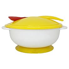 Тарелка с присоской, крышкой и ложкой (жёлтая) NEW