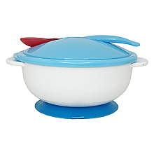 Тарелка с присоской, крышкой и ложкой (голубая) NEW