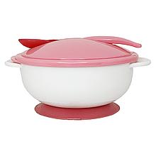 Тарелка с присоской, крышкой и ложкой (розовая) NEW