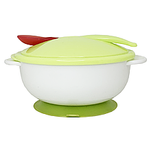 Тарелка с присоской, крышкой и ложкой (зелёная) NEW