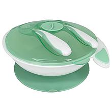Тарілка на присоску з ложкою і виделкою (зелена)