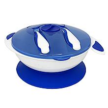 Тарілка на присосці з ложкою і виделкою (синя)