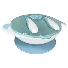 Тарелка на присоске с ложкой и вилкой (голубая)