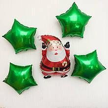 """Фольгована куля """"Дід Мороз і зірочки"""" 50х35 см Balloons"""