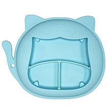 """Силиконовая тарелка """"Кошка"""" (голубая)"""