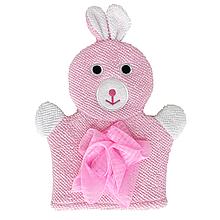 Детская мочалка рукавичка для купания малыша (розовая)