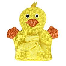 Детская мочалка варежка (жёлтая)
