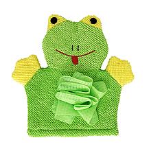 Детская мочалка рукавичка для купания малыша (зелёная)